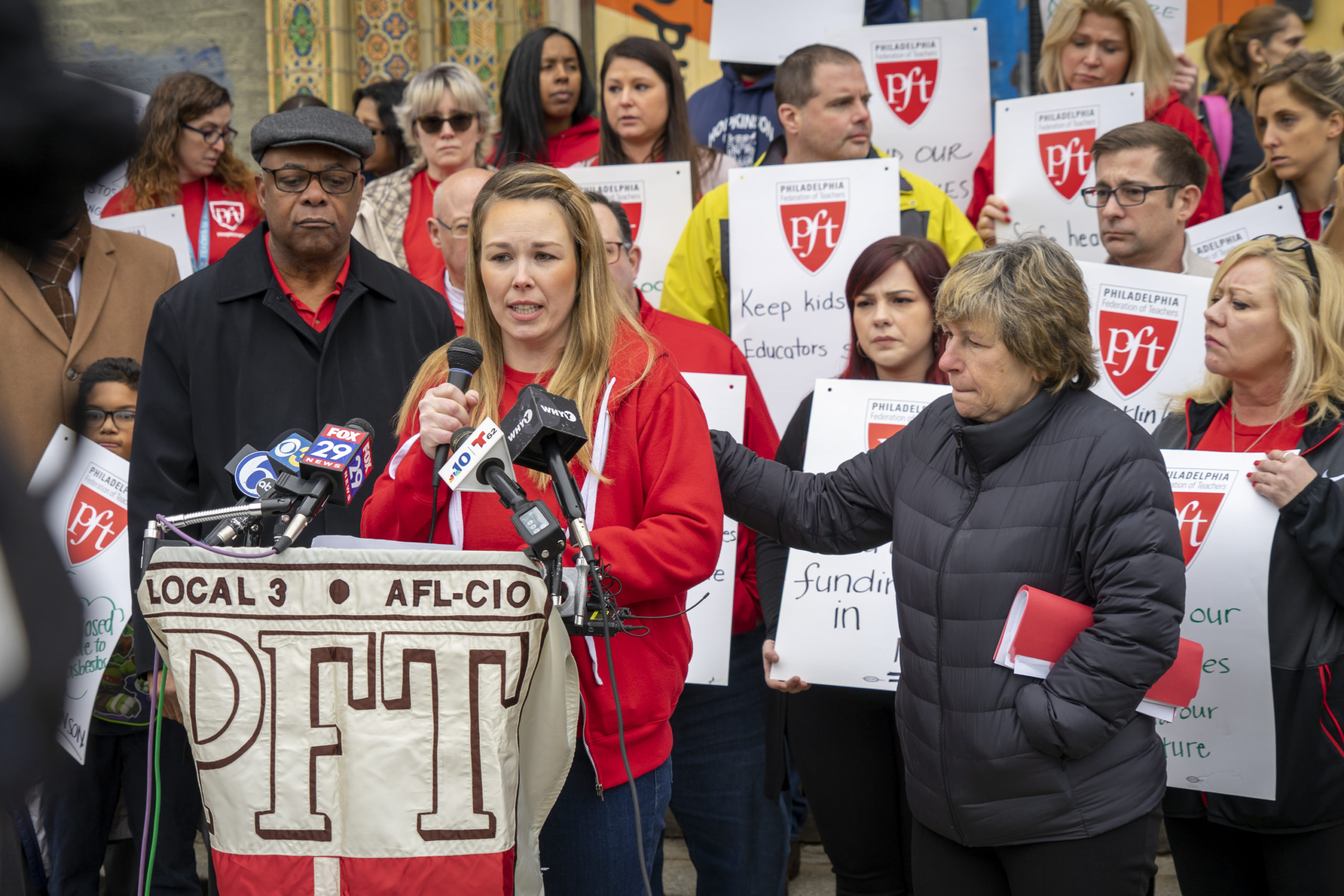 Photo: PFT Rally about Hopkinson Elementary